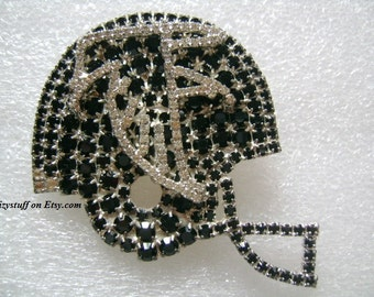 DOROTHY BAUER Sparkling Crystal Rhinestone With Faux Black Diamond Collector Item Football Helmet Brooch For Big Fans of The Atlanta Falcons