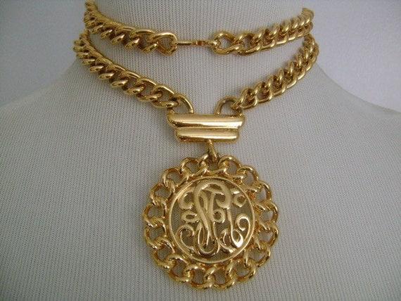 vintage monet gold tone chain necklace monogram medallion