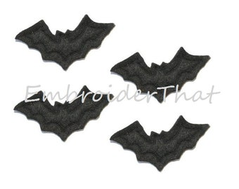 UNCUT Black Bat felt applique embellishments (4)