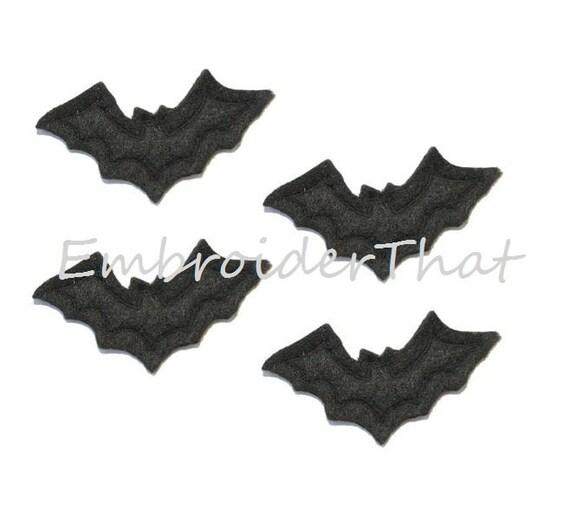 UNCUT RTS Black Bat felt applique embellishments (4)