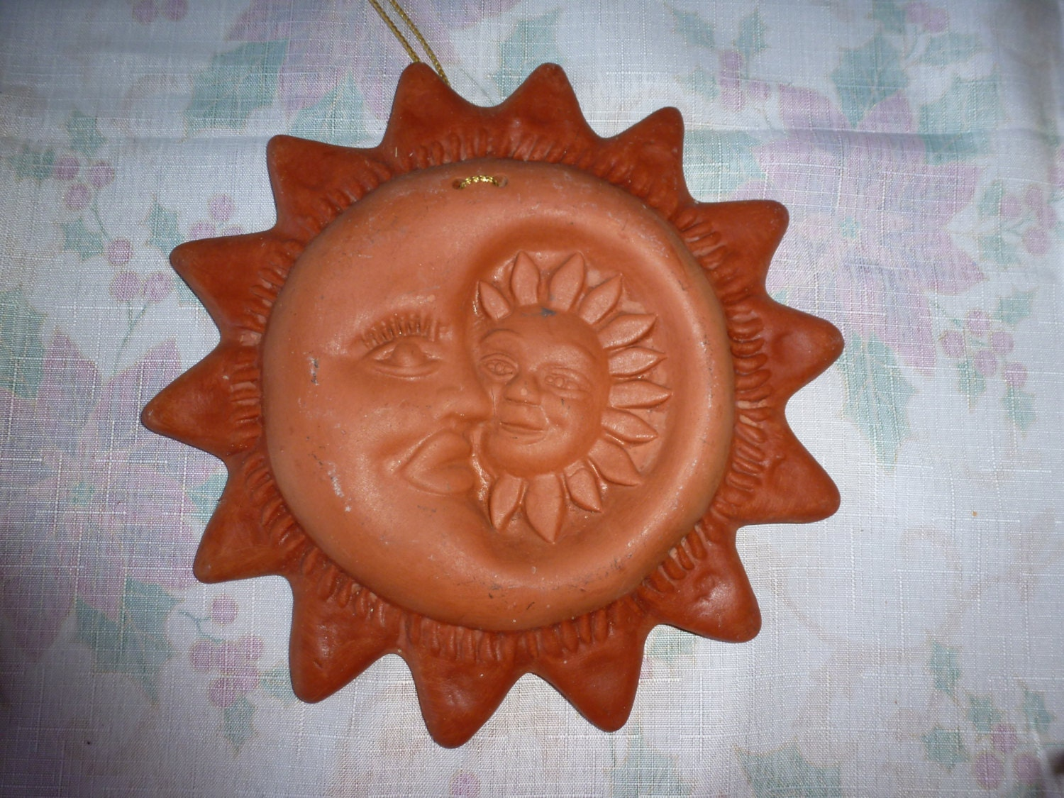 Wall Decor With Clay : Mexico terra cotta sun and moon wall decor redware clay