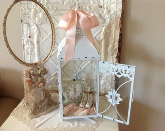 Shabby chic French cottage chippy white painted glass and metal display cabinet