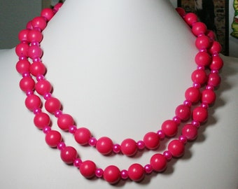 Hot Pink Beaded Necklace, Pink Double Strand Necklace, Chunky Necklace, Pink Necklace, Multi Strand Necklace,Women's Jewelry