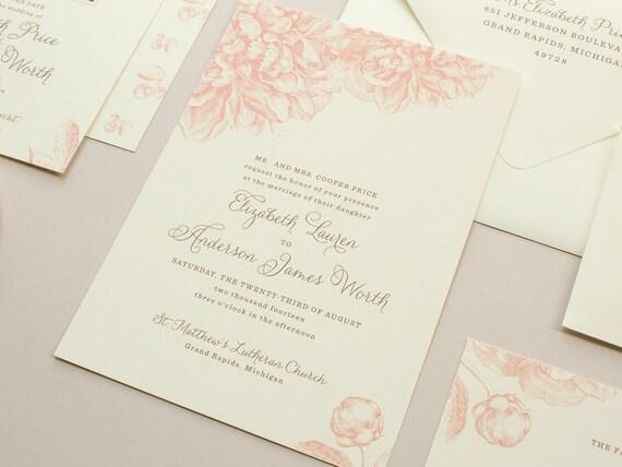 Schön Rosa Pfingstrosen Hochzeit Einladung Vintage, Einladungsentwurf