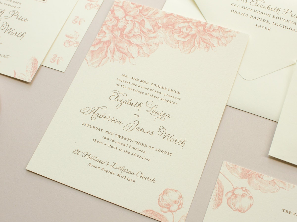 Pink Peonies Wedding Invitation Vintage Flowers Illustration