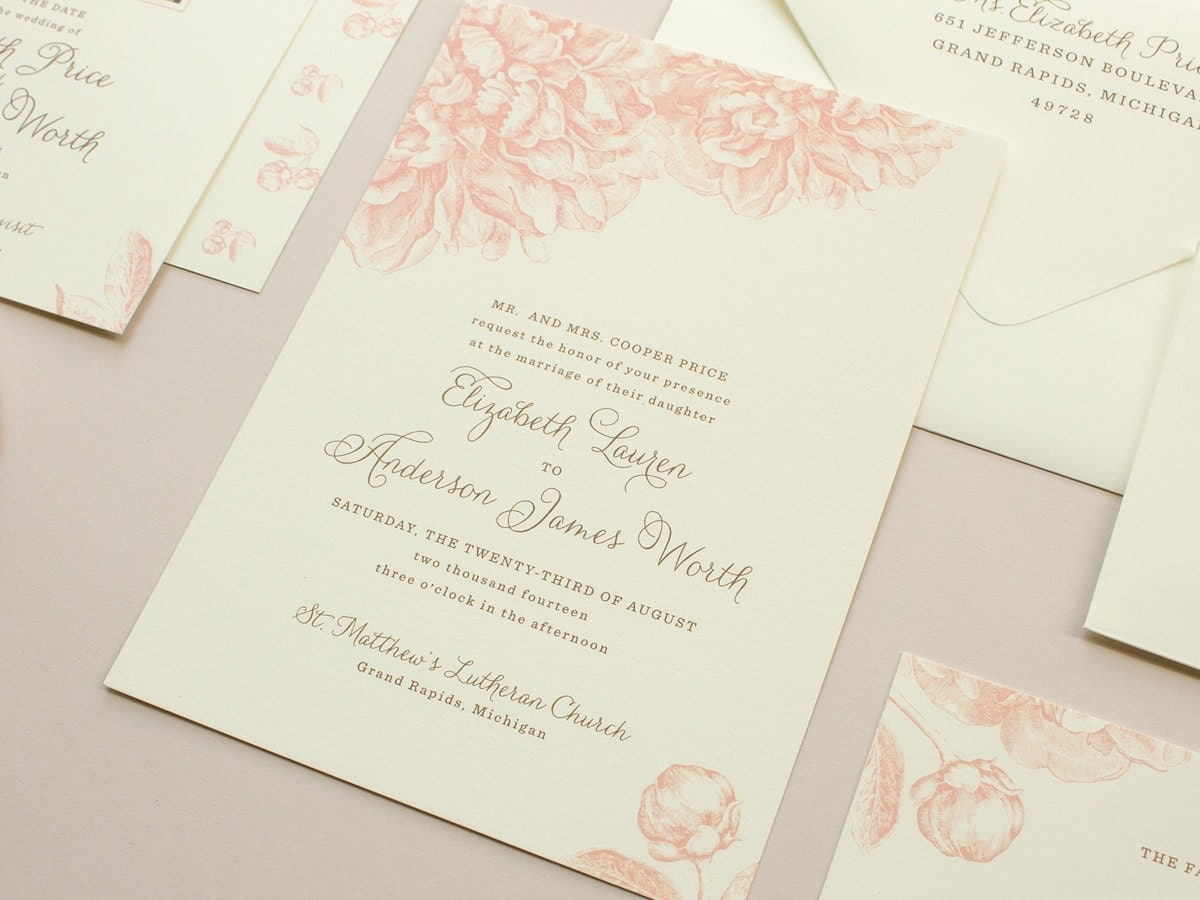 Invitation Wedding Card: Pink Peonies Wedding Invitation Vintage Flowers Illustration