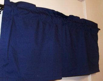Dark NAVY BLUE  VALANCE,  Blue, Boys Room,  Window Treatment for  kid's   Room, 42 x 16 inches, Length include Rod Pocket, Beautiful Rooms.