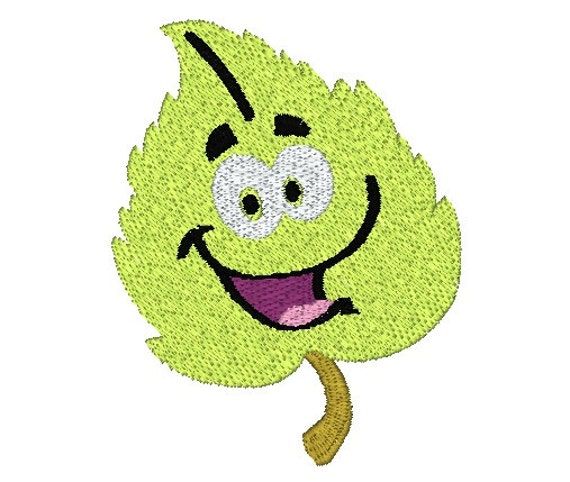 Smiling leaf machine embroidery design spring fall and