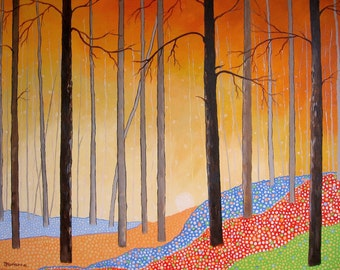 "Original Landscape Painting Tree Painting 28"" x 22"" Autumn Orange Blue Green"