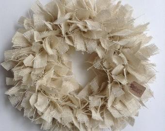 Burlap Beach Wreath, White Wreath, Tan Wreath, Beach Wreath, Summer Wreath, Everyday Wreath, Spring Wreath, (Color Options)
