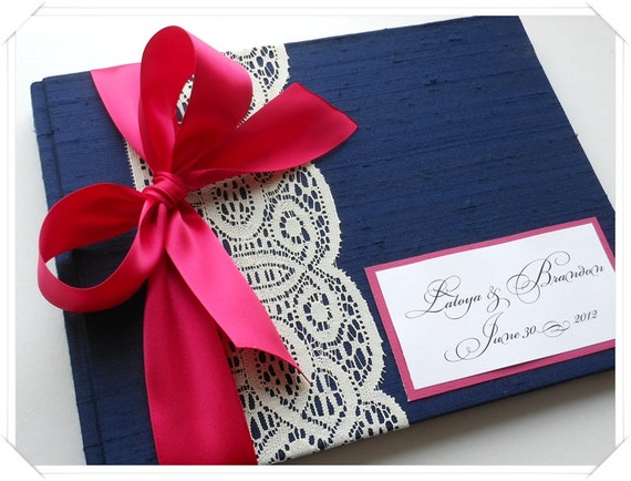 Custom Wedding Guestbook Navy and Fuchsia (made to order)