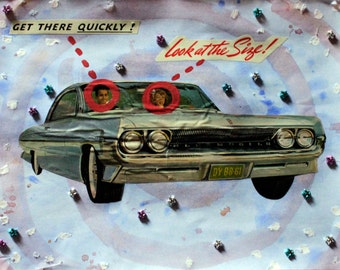 "Retro ""New Car… Or Maybe They Mean Something Else?"" watercolor collage"