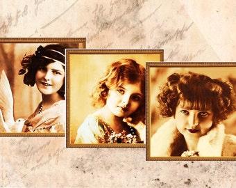 Vintage Girls Digital collage Sheet for Instant Download