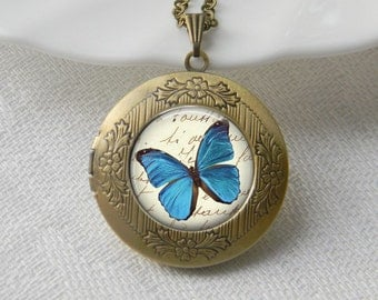 Butterfly Locket Necklace Art Photo Print Jewelry Locket Pendant Gift For Her (014)
