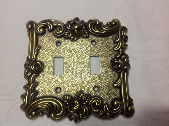 Vintage Double Light Switch Plate Art Deco Light Switch Plate