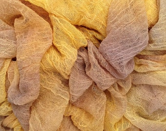 Hand Dyed Cotton Scrim, Muslin, Gauze, Scarf for Nuno Felting, Pastel golds, yellows and browns