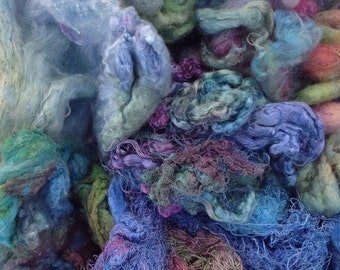Silk Pick and Mix Blue Selection, Hand Dyed Silk Fibres, Silk Tops, Throwsters Waste, Laps, Cocoons, Carrier Rods, Hankies