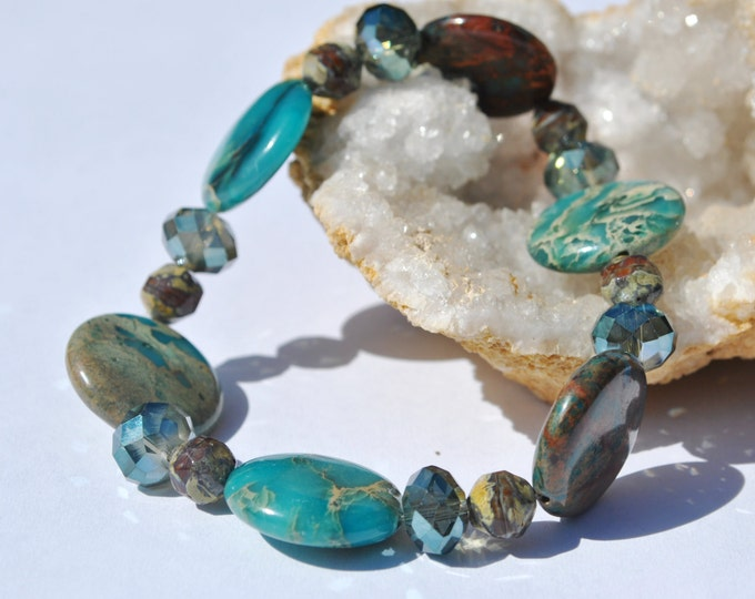 Teal Impression Jasper Bracelet with crystals and Czech glass, Teal and brown stretch bracelet