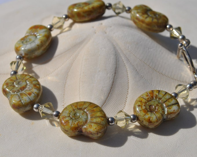 Ammonite Czech glass bead bracelet in soft chartreuse with sterling silver beads and crystals