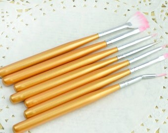 7pcs Nail Art brushes UV-Gel Painting Drawing Dotting Pen Polish Brush Set Manicure gold color