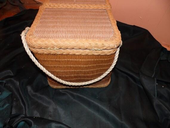 Knitting Basket With Handles : Vintage wicker rattan picnic basket knitting rope handles