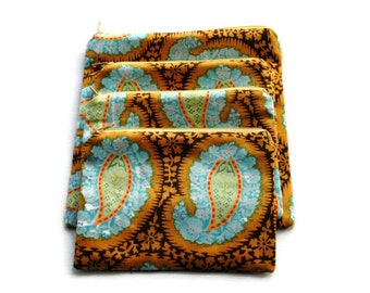 Reusable Sandwich/Snack Bags set of 4 Amy Butler Paisley Brown Blue