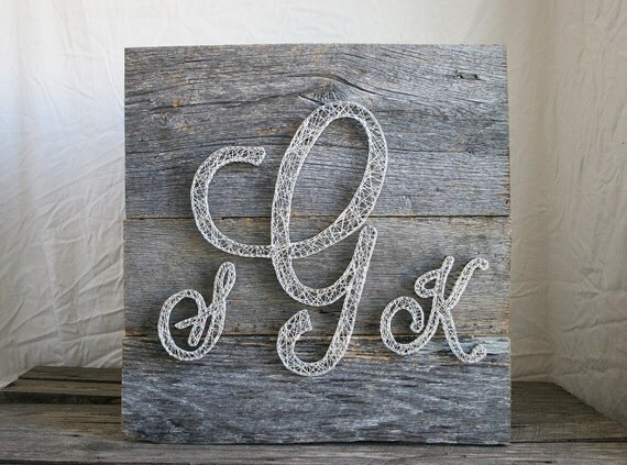 Monogram Wall Decor Diy : String art monogram barn wood wall by rambleandroost