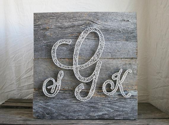 Monogram Wall Decor Diy : String art monogram barn wood wall by rambleandroost