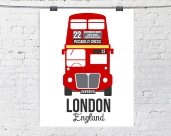 British Double Decker Bus, London, England, Underground, Transportation - Illustrated Poster red and gray - 8x10