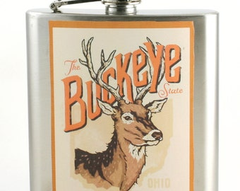 OSU football flask, Deer, Hunter, Ohio State, Man gift idea