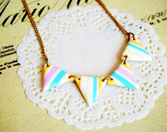 Geometric striped bunting banner necklace