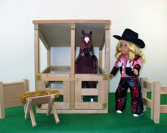 "18 inch Doll Furniture, American Made, Doll Furniture, Horse Stable, 18"" Doll Furniture"