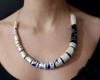 contemporary upcycled / recycled jewellery colourful paintbrush statement necklace