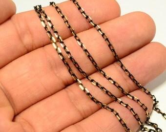 5 Meter -16,5 Feet  Black-Gold  Brass Chain  3x4 mm Circle Oval  Chain