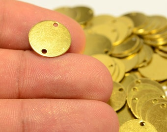 100 Pcs Raw Brass 12 mm Stamping Findings-2 Holes