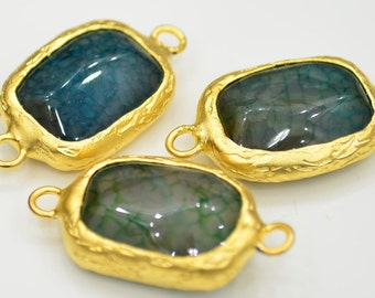 Gold Plated  Green  Jade 13x16 mm Bezel Connector-1 Pieces A2