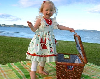 SALE...Buy 2 get 1 free..Ruthie's Picnic Dress Girl's Retro Ruffled Bodice ..Instant Download PDF Sewing Pattern, 6-12m to 8