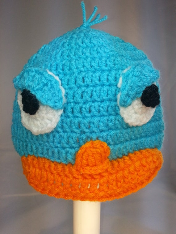 Perry the Platypus Inspired Hat from Phineas and Ferb, Crochet earflap or beanie hat, Turquoise