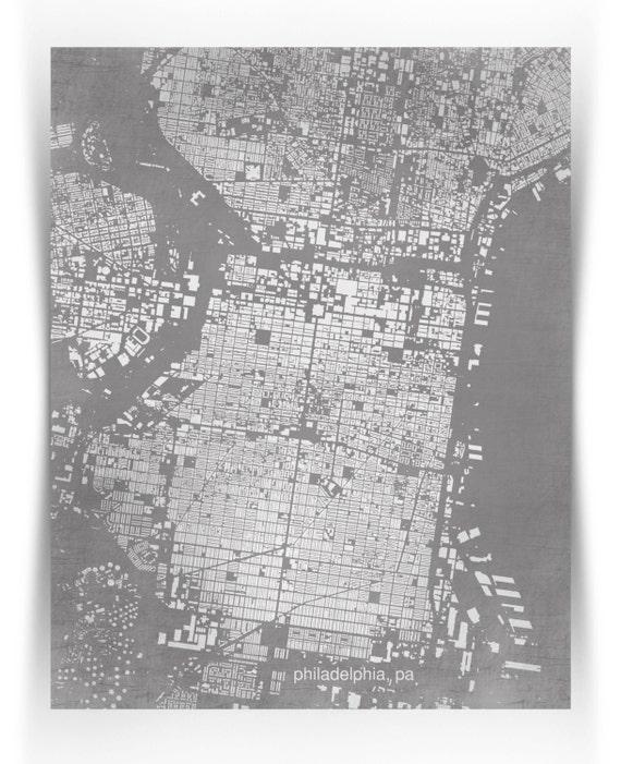 "philadelphia, pa- building footprints city map print - 11""x14"""