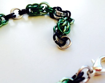 Green, silver and lilac bracelet