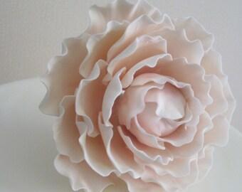 Pink Sugar Peony Wedding Cake Topper