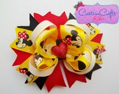 Bubbly Minnie Mouse Stacked Boutique Bow - Yellow, Red, Black, Disney, Cream, Heart, Glitter, Costume, Hair Accessory, Alligator Clip - CreativeCraftsByJen