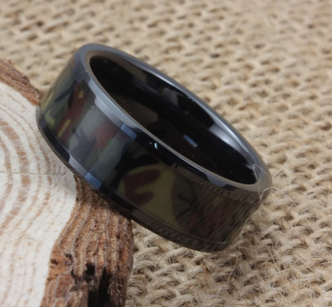 Camo ring black wedding band original camo wedding ring for Camoflauge wedding rings