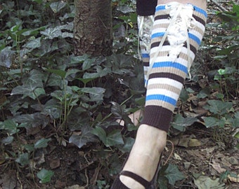 Upcycled, Recycled, Refashioned, Repurposed, Leg Warmers Stripped With Lace
