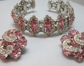 AWESOME! Weiss Vintage Pink Rhinestone Demi-parure Set ( Cuff Bracelet and Earring's)