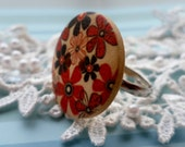 Floral Wooden Button Ring