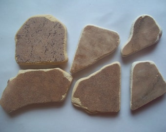 Scottish Sea Glass beach finds 6 brown coloured mixed sea pottery shards b7