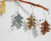 Fallen Leaves - Oak Leaf - 3 Tin Punch Ornaments in copper, brass and aluminum - fall autumn decor, Christmas ornament, country cottage chic
