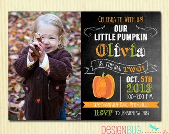 Little Pumpkin Chalkboard Birthday Invitation - Girl or Boy for ANY Age 1st, 2nd, 3rd... Birthday - Fall, Autumn Birthday Party Photo Invite