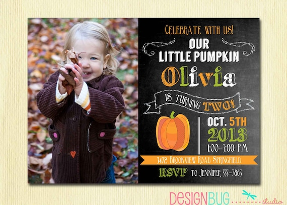 items similar to little pumpkin chalkboard birthday invitation, Birthday invitations